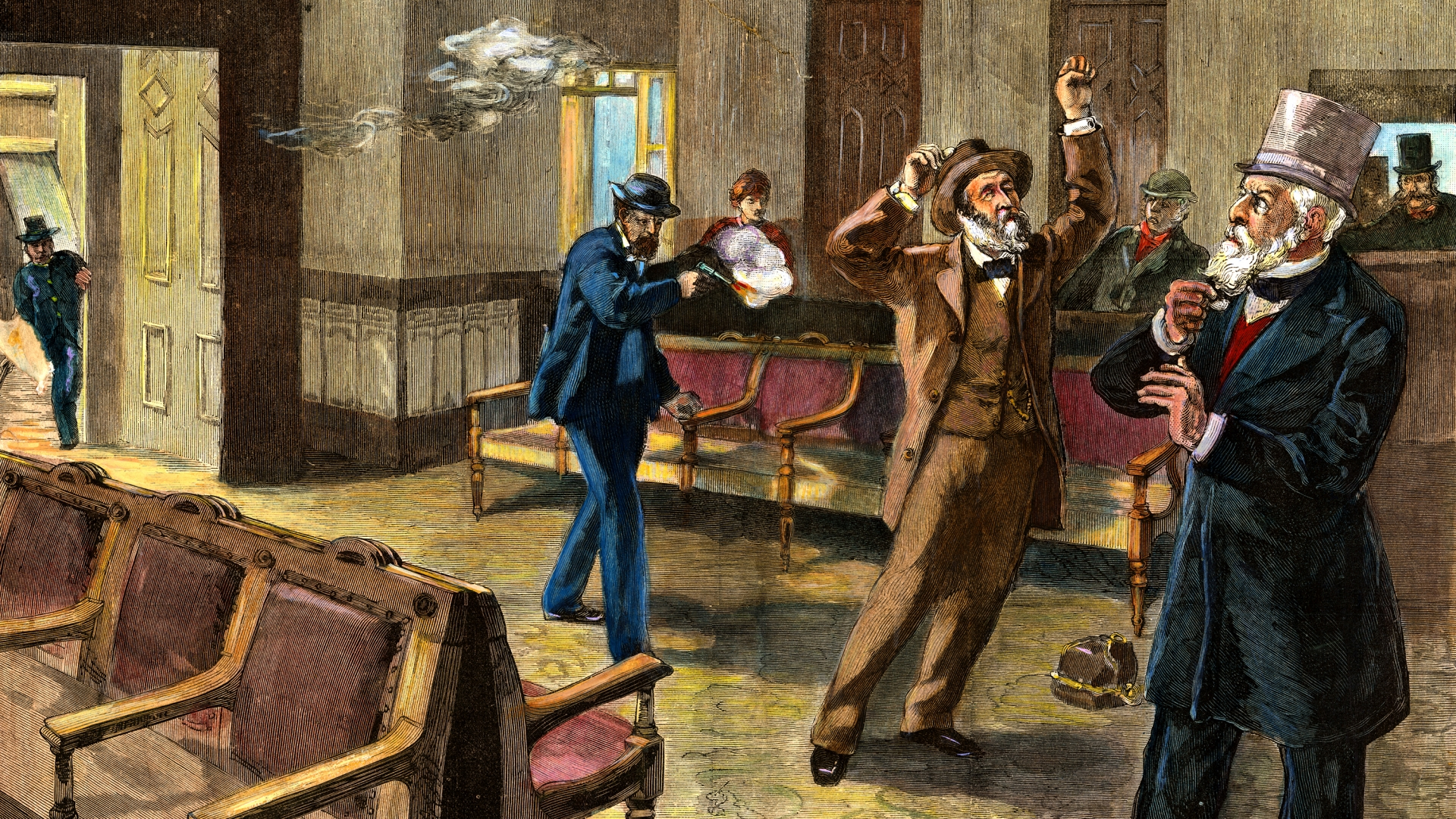 The assassin firing the second shot at President Garfield. (Credit: Bettmann Archives/Getty Images)