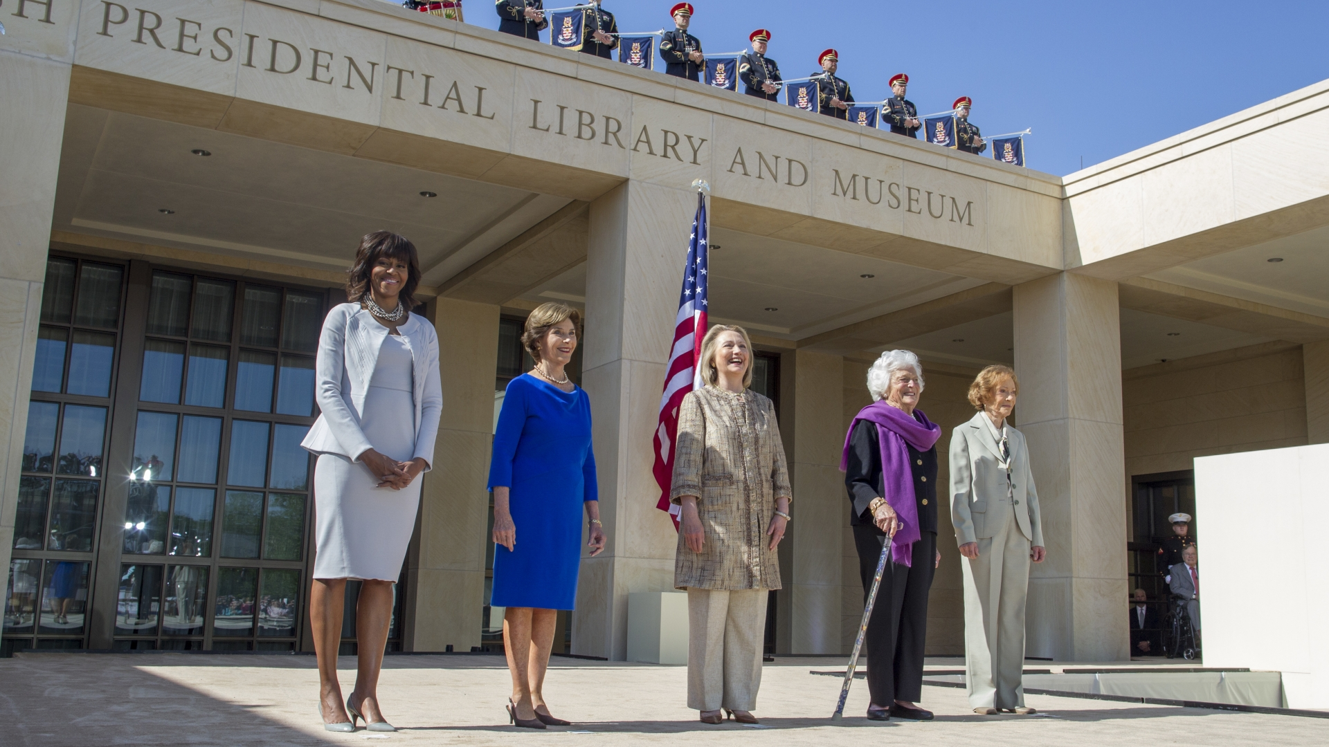 Former First Ladies Michelle Obama, Laura Bush, Hillary Clinton, Barbara Bush and Rosalynn Carter as they attend the dedication ceremony for the George W. Bush Presidential Center in Dallas. (Credit: Brooks Kraft LLC/Corbis/Getty Images)