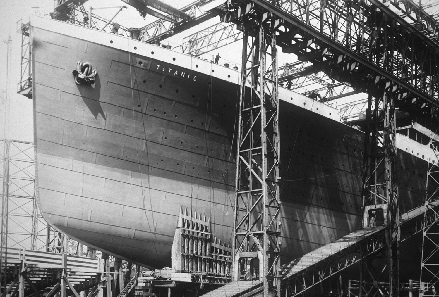 The Titanic under construction at Harland and Wolff shipyard in Belfast, Ireland. (Credit: Ralph White/CORBIS/Corbis via Getty Images)