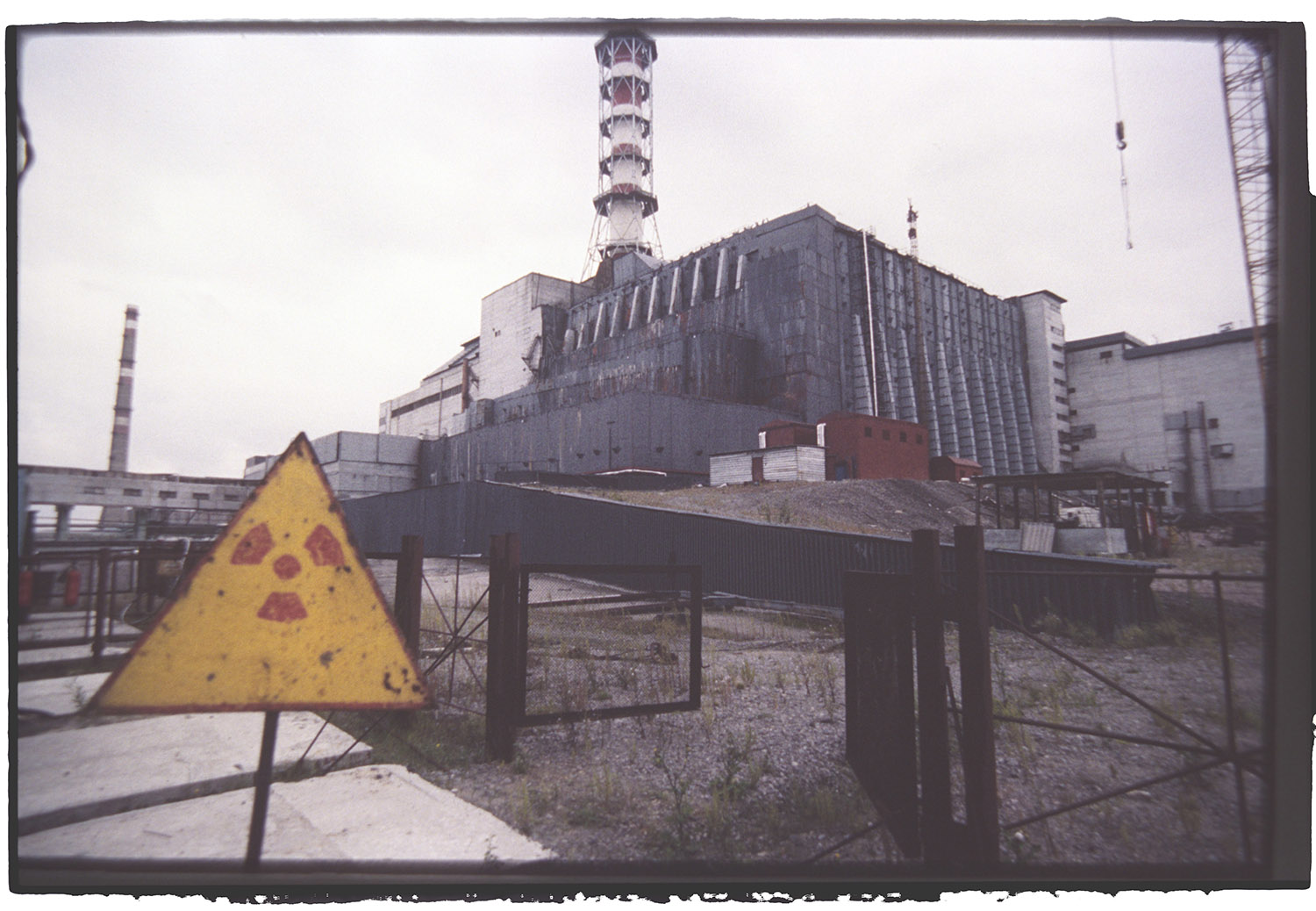 Exterior view of the sarcophagus built on the reactor at Chernobyl nuclear plant. (Credit: Igor Kostin/Sygma/Getty Images)