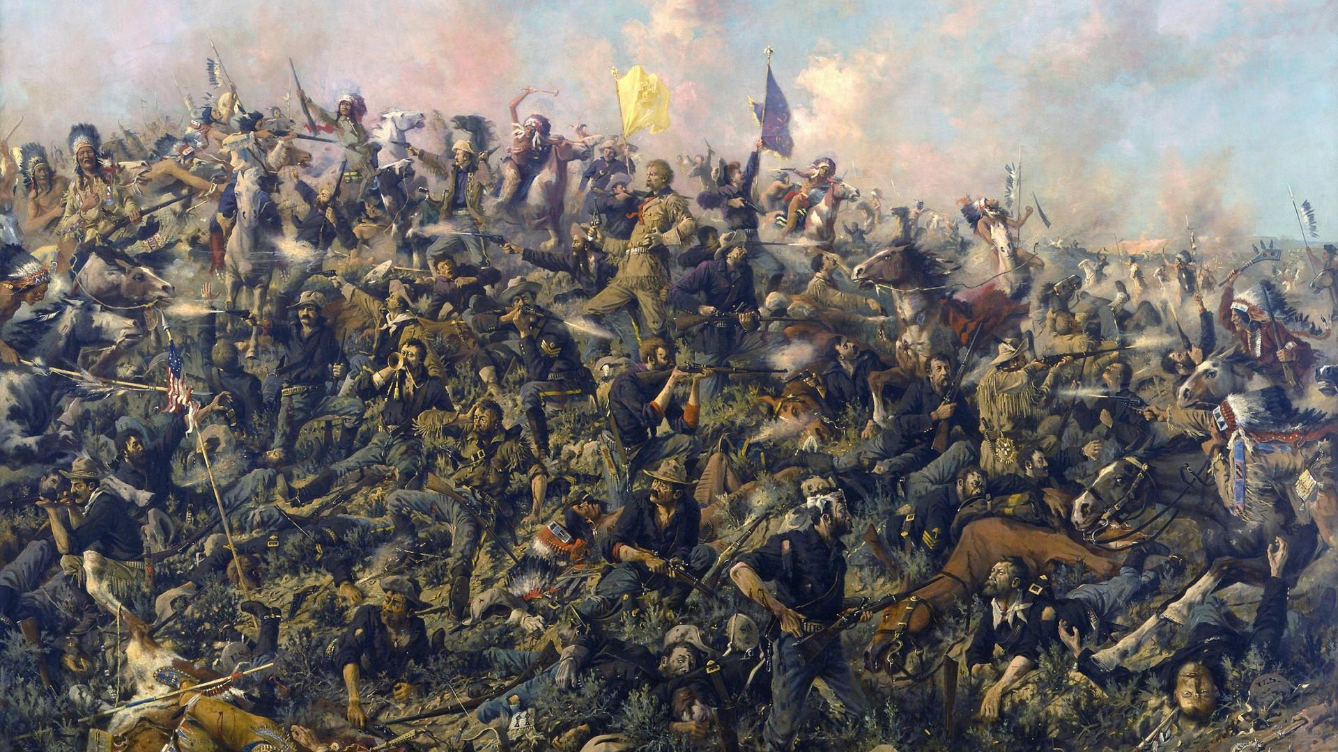 Custer's Last Stand from the Battle of Little Bighorn. Painted by Edgar Samuel Paxson, 1899. (Credit: GraphicaArtis/Getty Images)