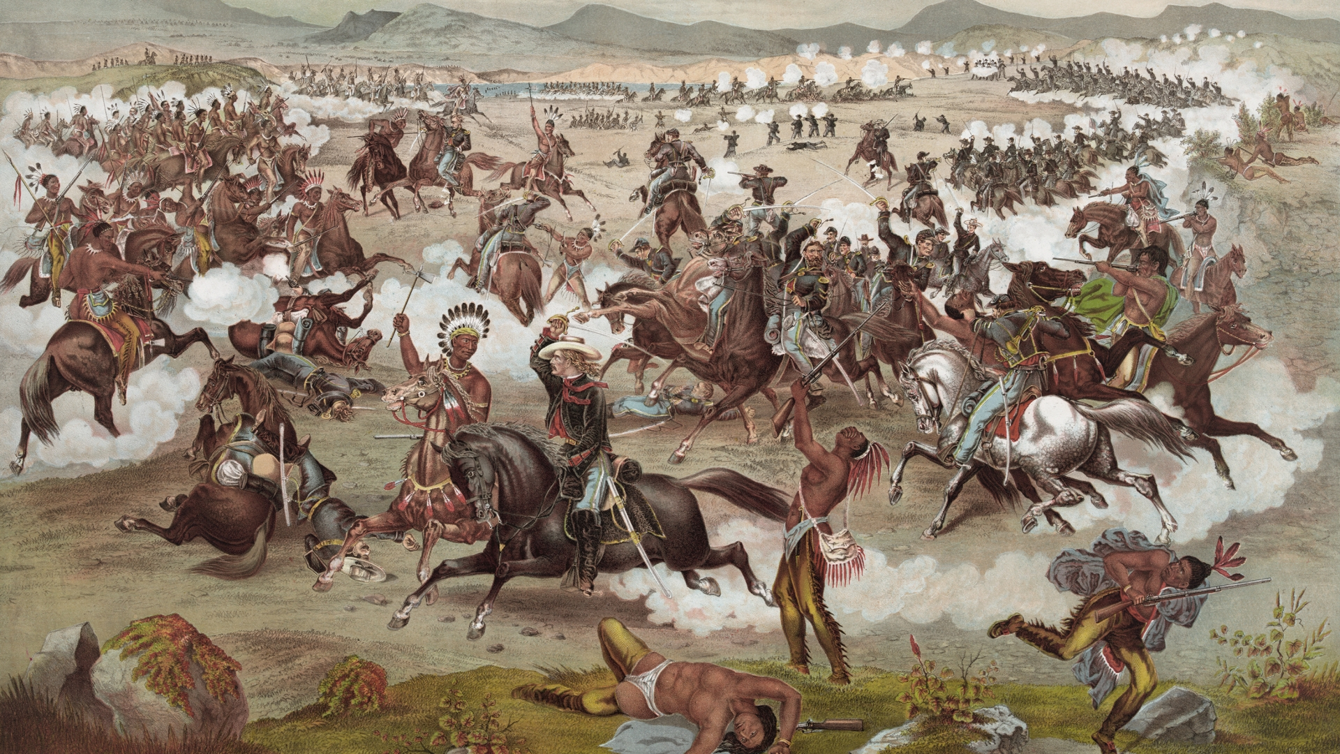 Custer's Last Stand from the Battle of Little Bighorn. (Credit: GraphicaArtis/Getty Images)