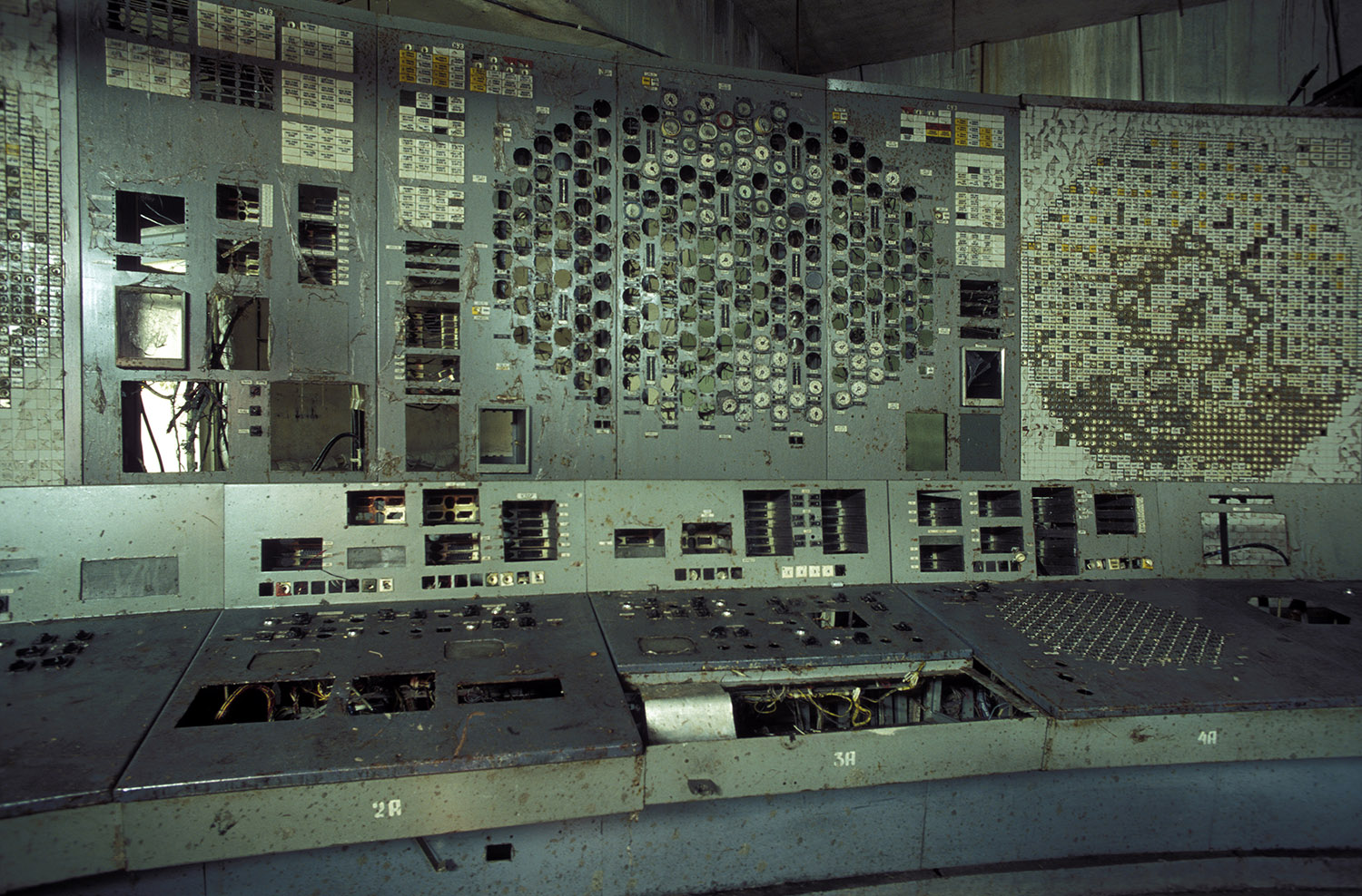 The control panel of reactor unit 4 inside the Chernobyl exclusion zone and nuclear power plant in 2006. Reactor unit 4 was the one that blew up on April 26, 1986. (Credit: Patrick Landmann/Getty Images)
