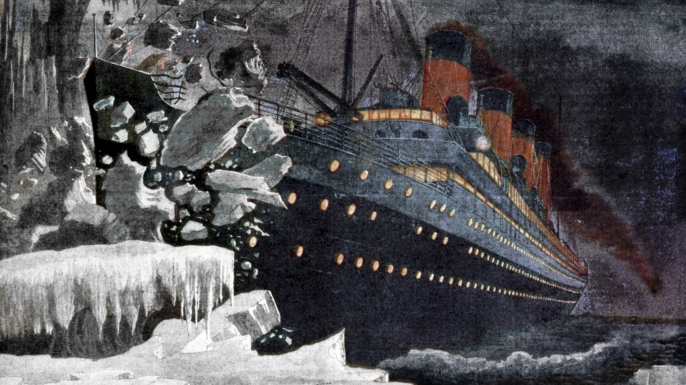 The Titanic colliding with an iceberg, 1912. (Credit: The Print Collector/Getty Images)