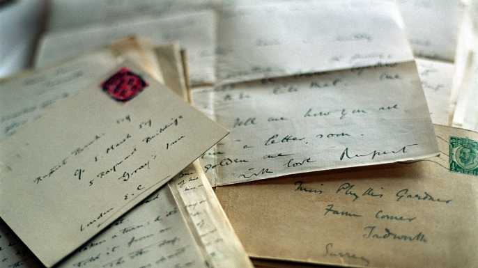 Love letters written by poet Rupert Brooke, to his sweetheart Phyllis Gardner, on display at the British Museum in London. (Credit: Matthew Fearn/PA Images/Getty Images)