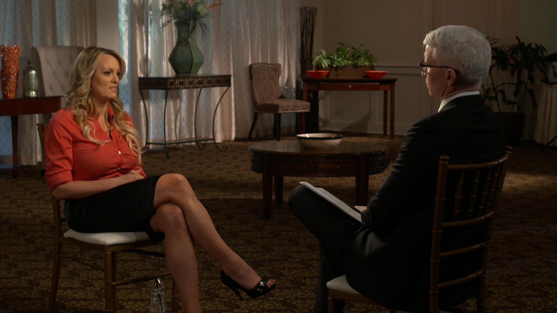 Stormy Daniels during her interview on '60 Minutes' with Anderson Cooper, March 2018. (Credit: CBS/Getty Images)