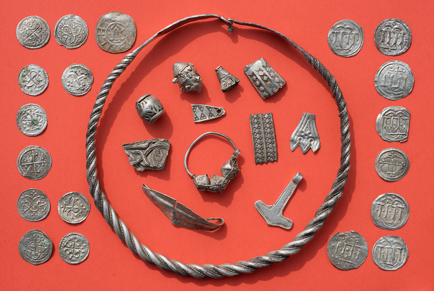 Parts of the silver treasures found in northern Germany which may have belonged to the legendary Danish king Harald Bluetooth who brought Christianity to Denmark