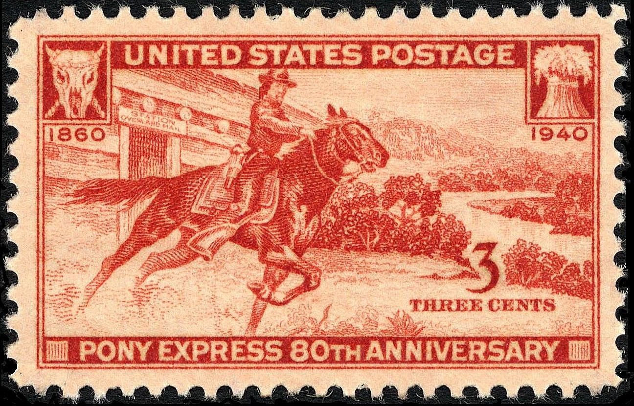 1940 80th Anniversary Pony Express stamp. (Credit: Public Domain)