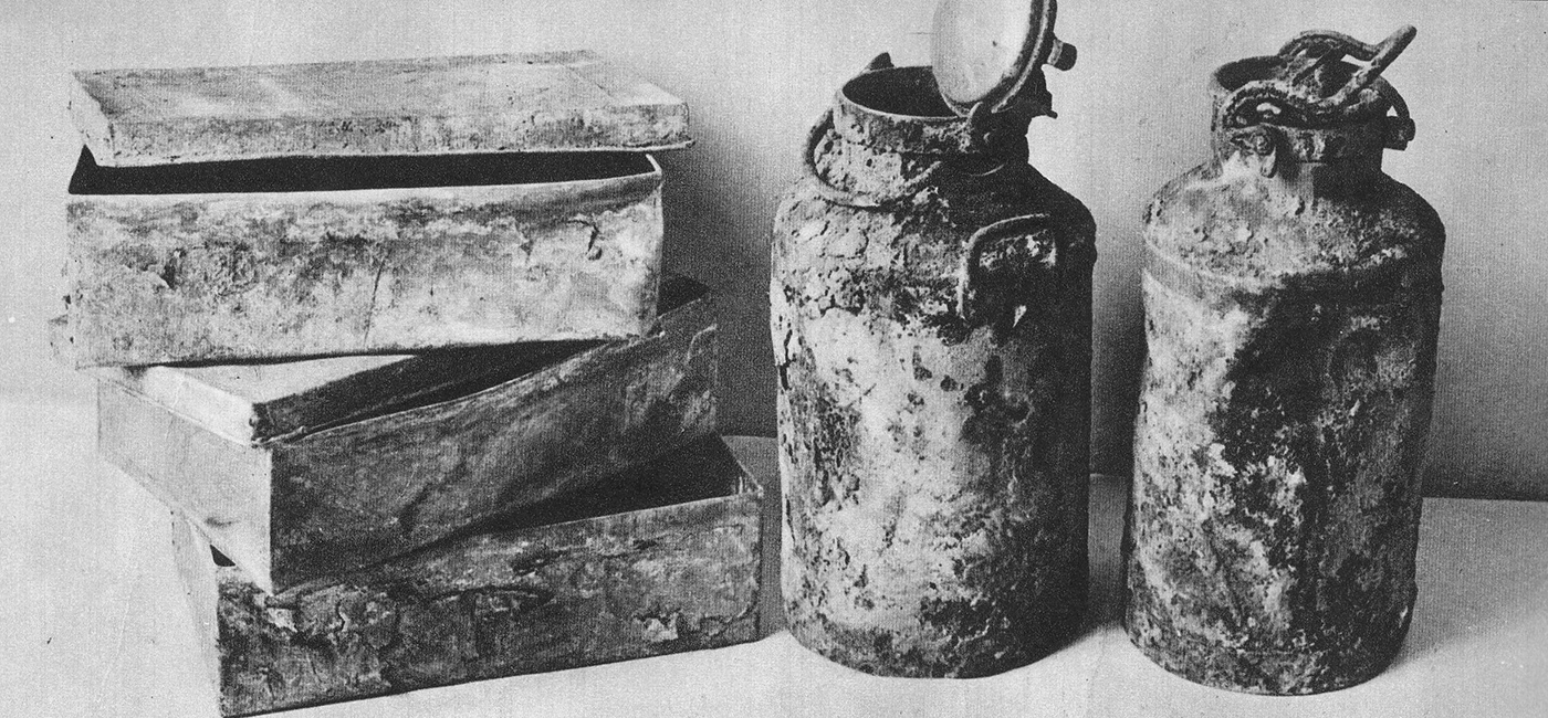 Some of the milk cartons and metal boxes discovered with the hidden Ringelblum archives. (Credit: Public Domain)