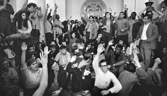 Students in Hamilton Hall at Columbia University on April 23, 1968. That night, African-American students asked white students to leave and seize other buildings, so they could keep a separate protest. (Credit: Don Hogan Charles/The New York Times/Redux)