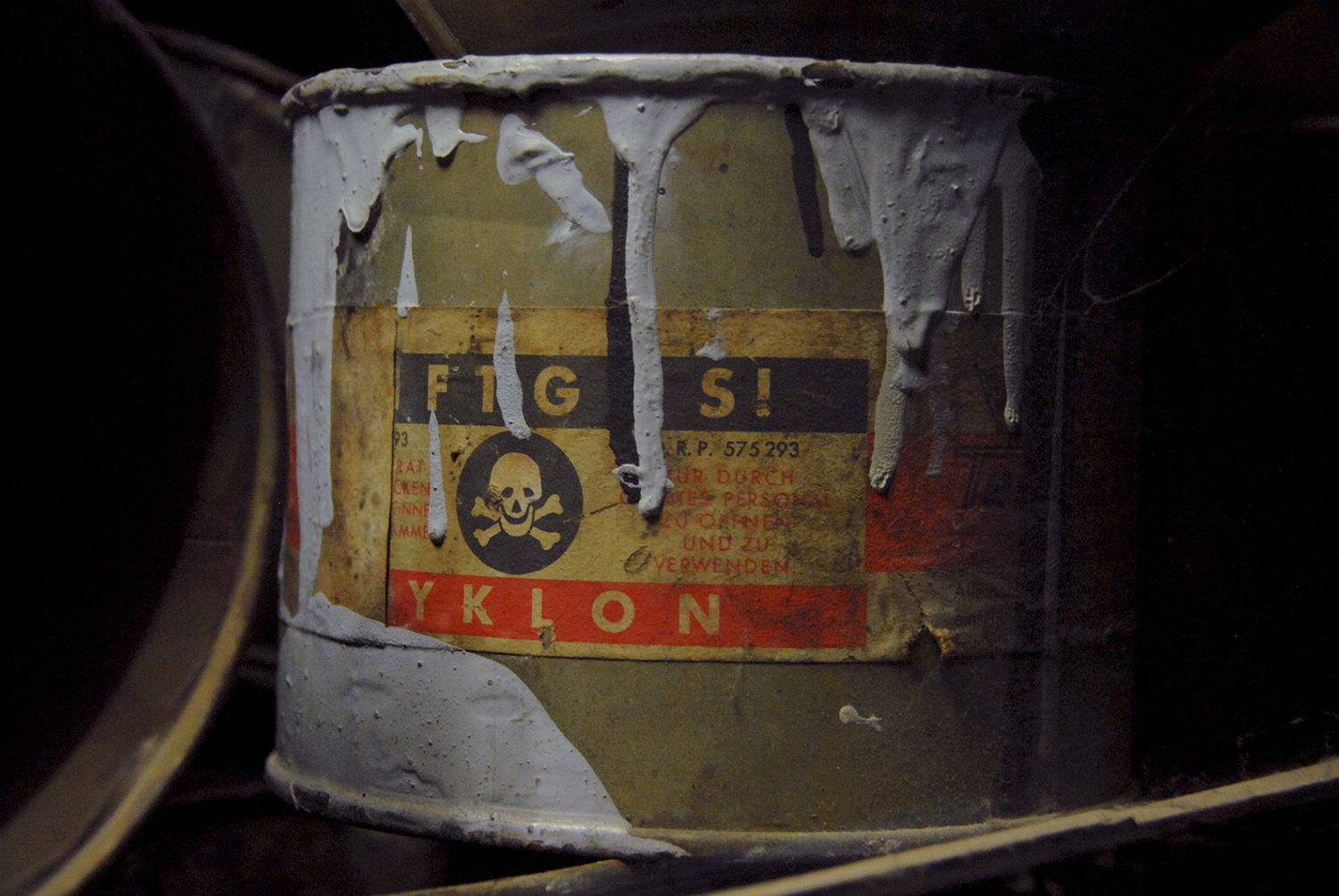 The deadly cyanide-based pesticide Zyklon B used in the gas chambers of the Holocaust concentration camps. (Credit: Sebastien ORTOLA/REA/Redux)