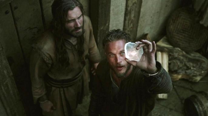 Ragnar using a crystal to navigate to Kattegat in Season 1 of 'Vikings.'