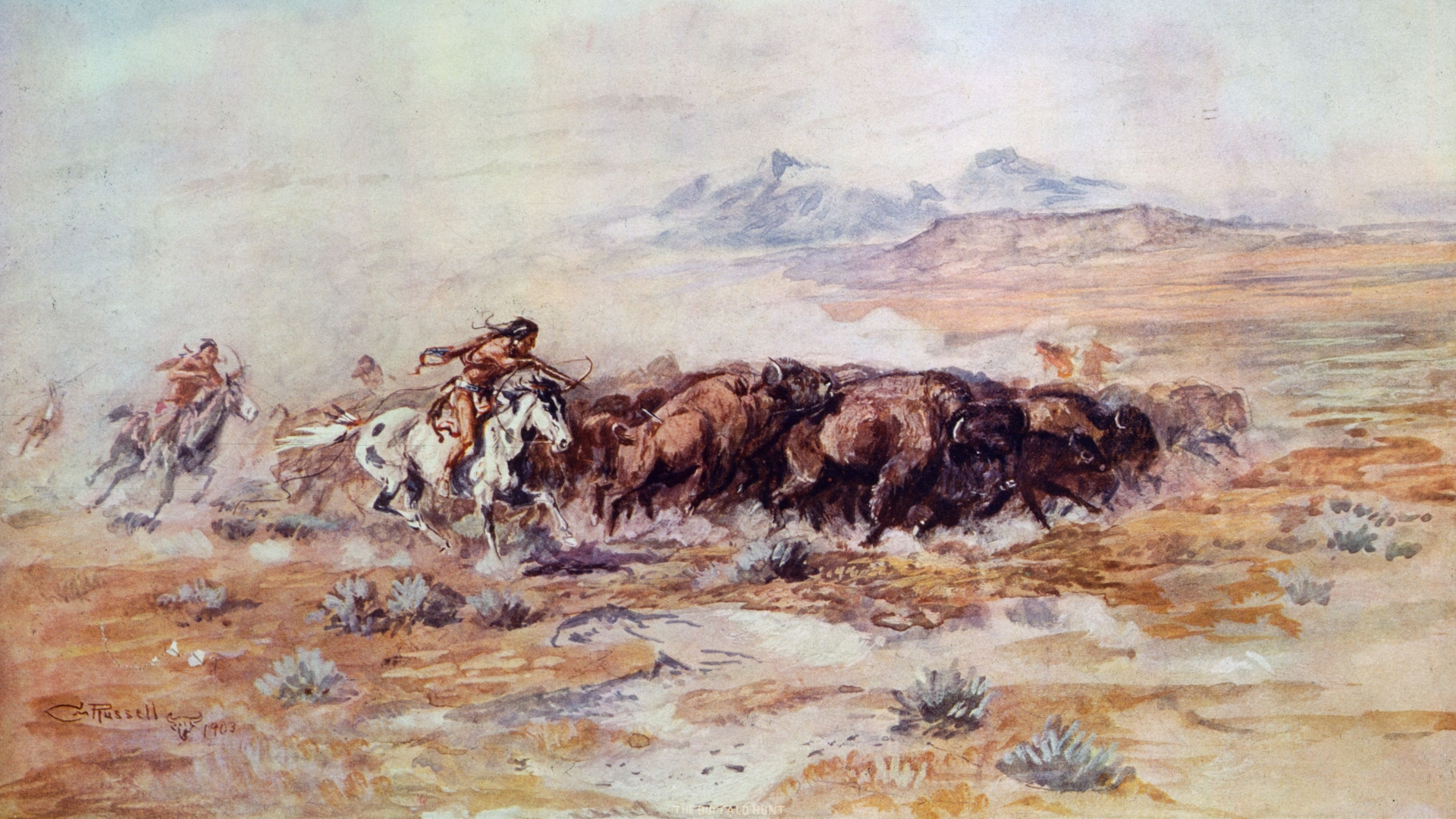 1887:  Native American hunters pursue a herd of bison across the plains. Original Artwork: Painting by Charles Marion Russell.  (Photo by MPI/Getty Images)