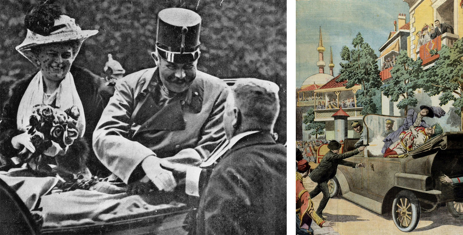 Archduke Franz Ferdinand and his wife Sophie shortly before their assassination, and a page from Le Petit Journal, illustrating the assassination. (Credit: Henry Guttmann/Getty Images & Popperfoto/Getty Images)
