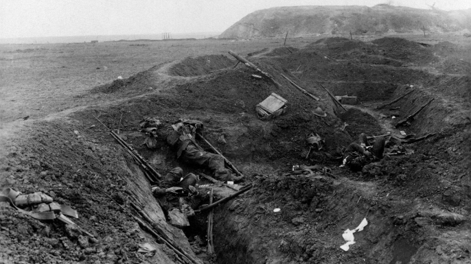 The bodies of the British soldiers lying dead in their trench during the Battle of the Somme, 1916. (Credit: Mondadori Portfolio/Getty Images)
