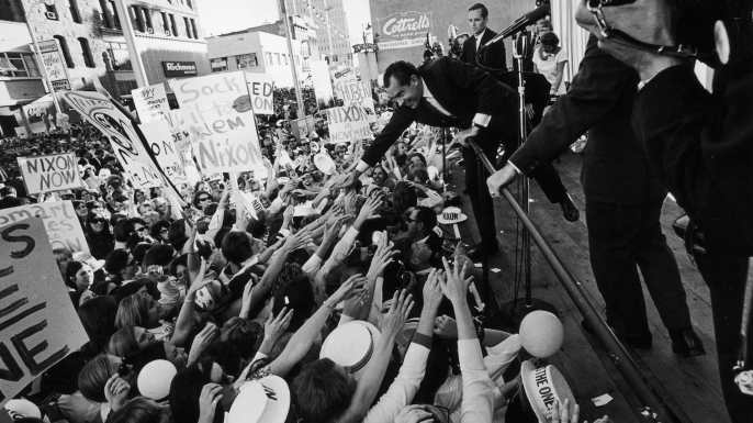 Republican presidential candidate Richard Nixon during a campaign appearance in Denver, Colorado, September 25, 1968. (Credit: Hulton Archive/Getty Images)