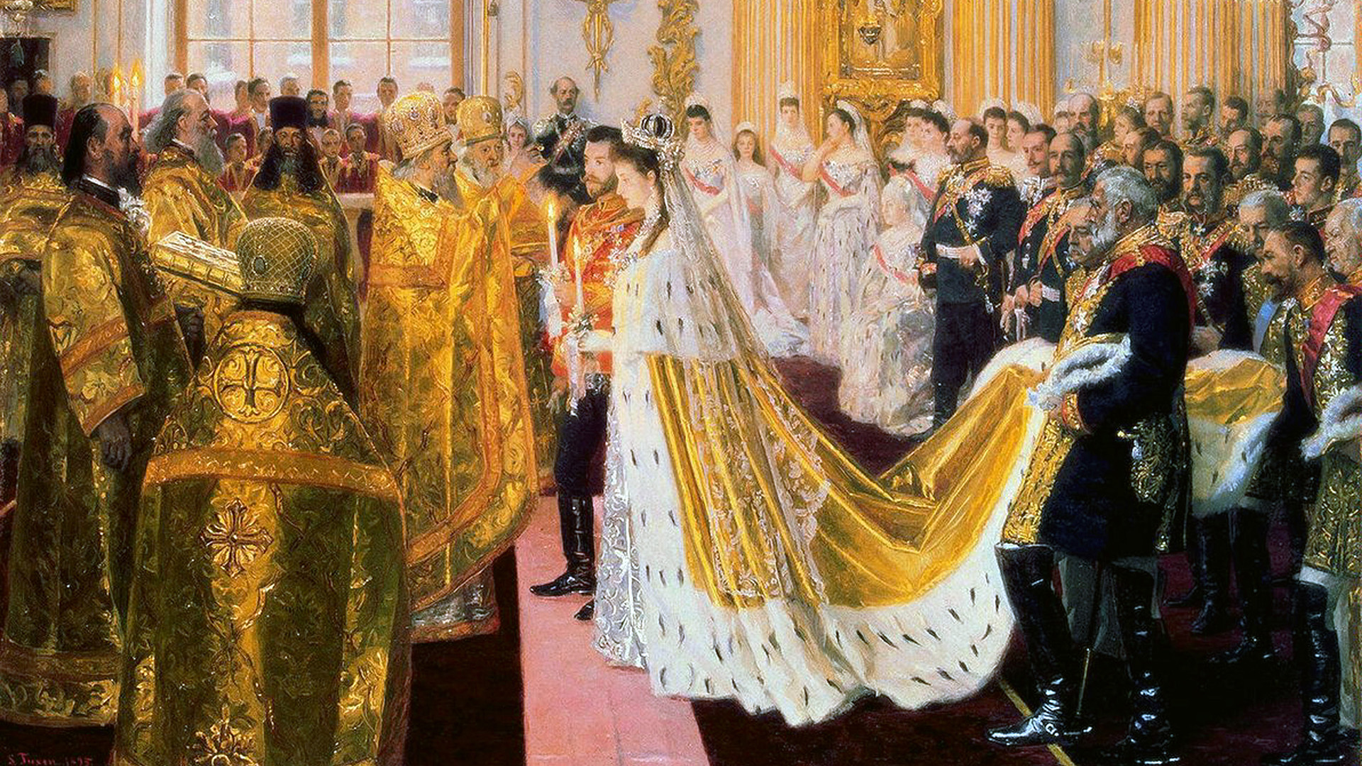 The wedding of Tsar Nicholas II and the Princess Alix of Hesse, 1894. (Credit: Fine Art Images/Heritage Images/Getty Images)