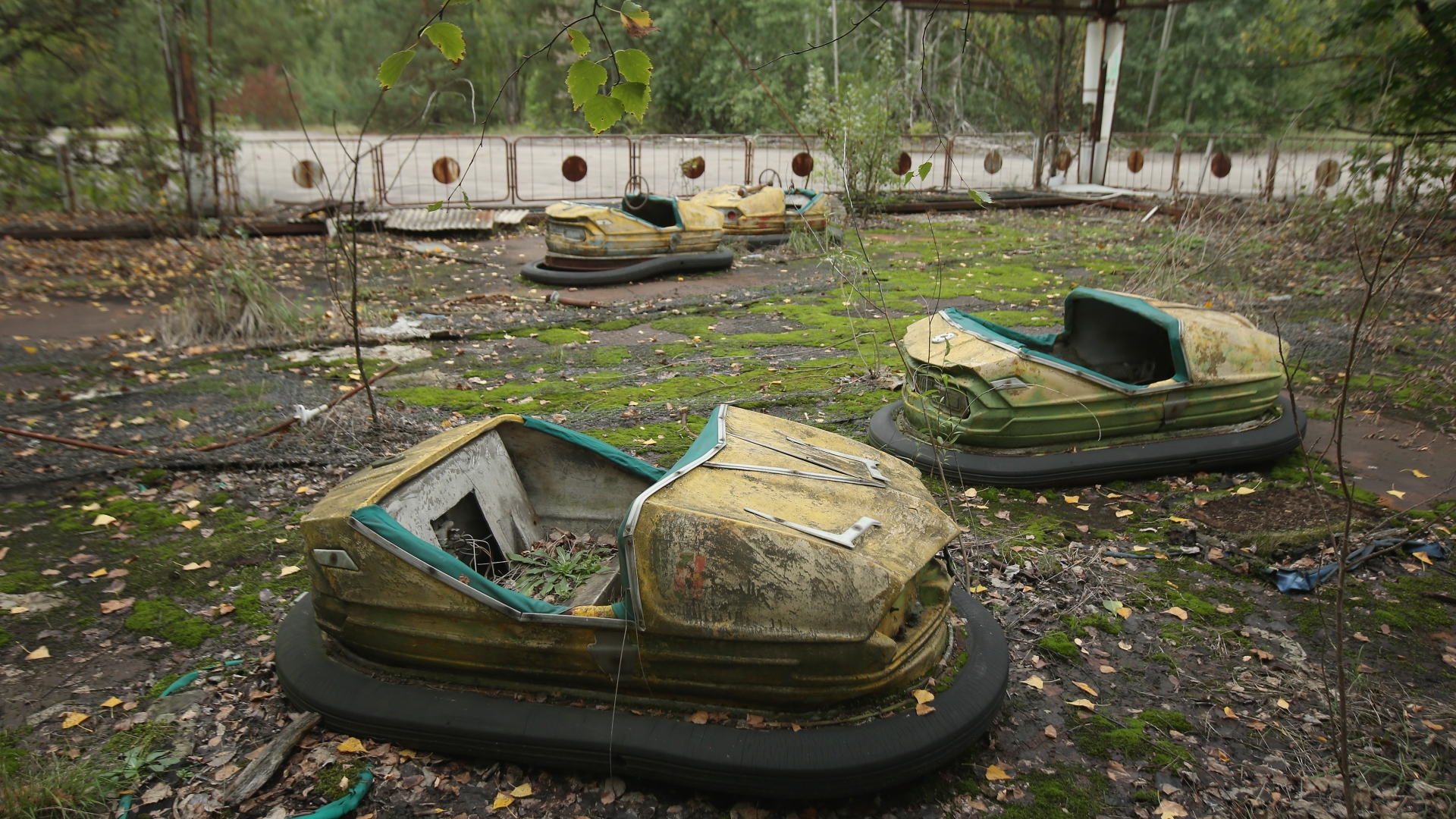 Bumper cars stand in an abandoned amusement park in Prypiat, Ukraine, only a few kilometers from the former Chernobyl nuclear power plant. The city lies in the inner exclusion zone around Chernobyl where hot spots of persistently high levels of radiation make the area uninhabitable for thousands of years to come. (Credit: Sean Gallup/Getty Images)