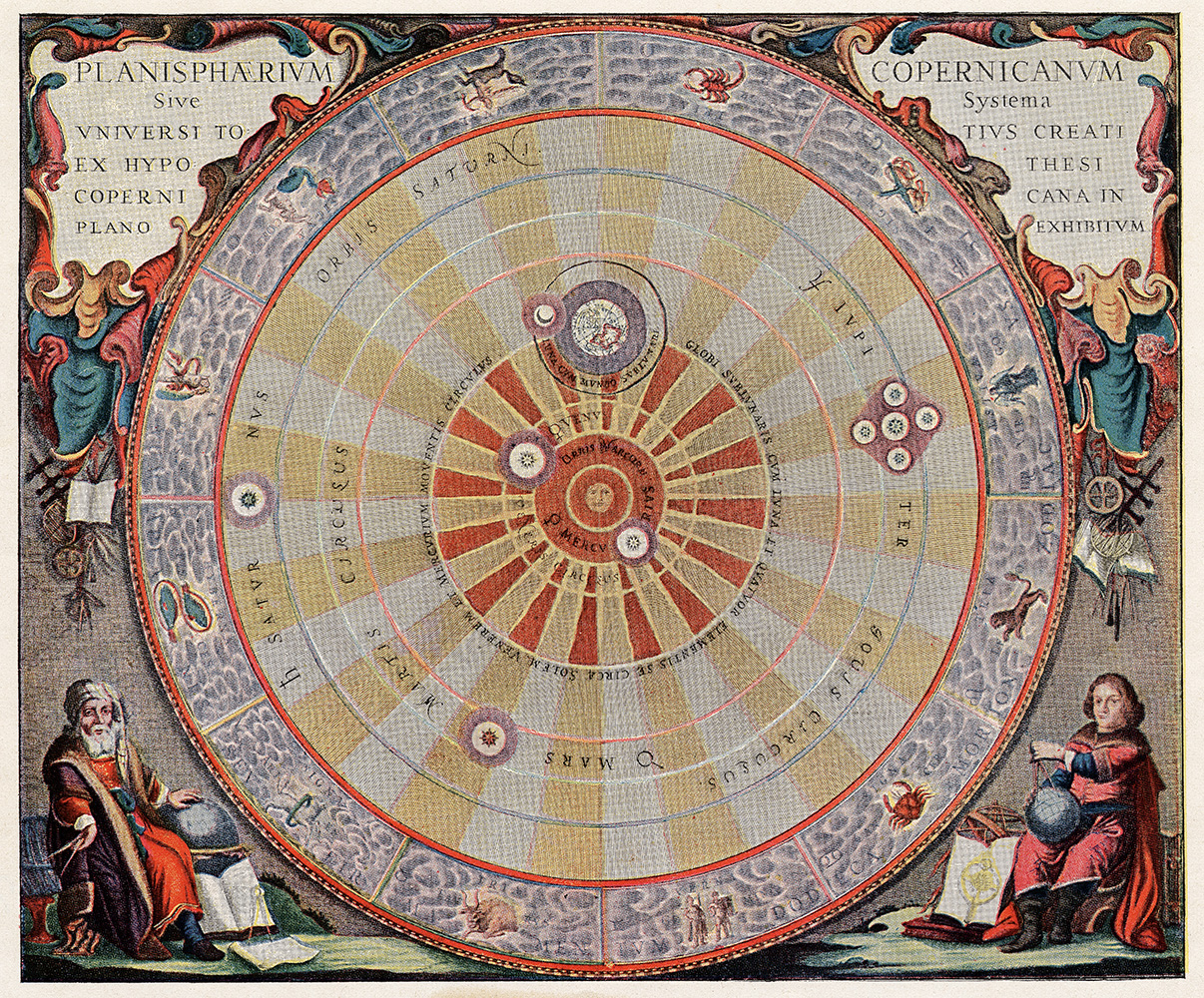 The Copernican system showing the planets orbiting the Sun. (Credit: Ullstein Bild/Getty Images)