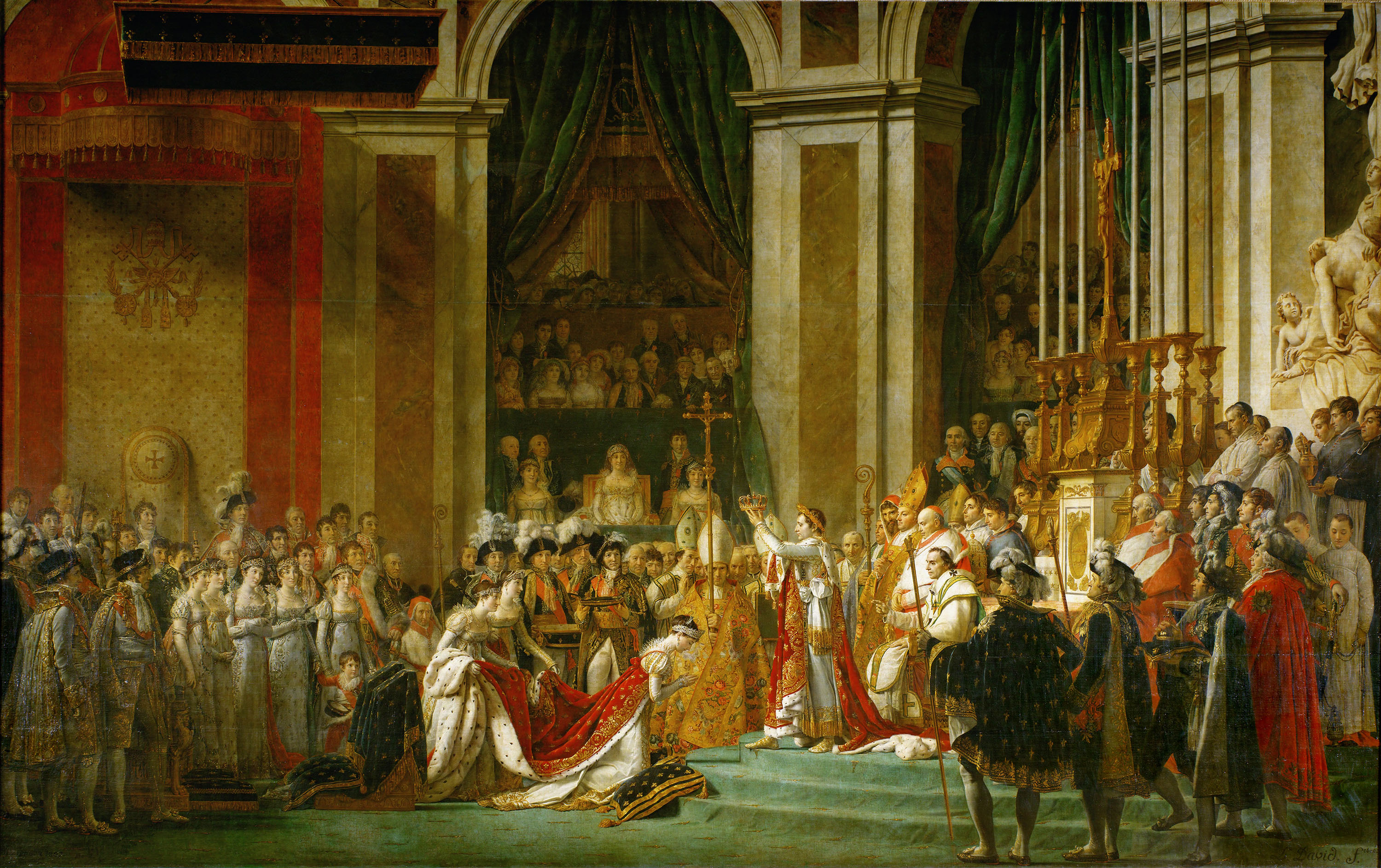 Jacques Louis David's painting of Napoleons coronation. (Credit: Imagno/Getty Images)