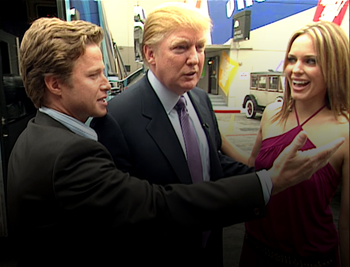 A still from the 2005 video featuring Donald Trump with Access Hollywood host Billy Bush, and 'Days of Our Lives' with actress Arianne Zucker, which revealed the now-infamous 'grab them by the pussy' comment. (Credit: The Washington Post via Getty Images)