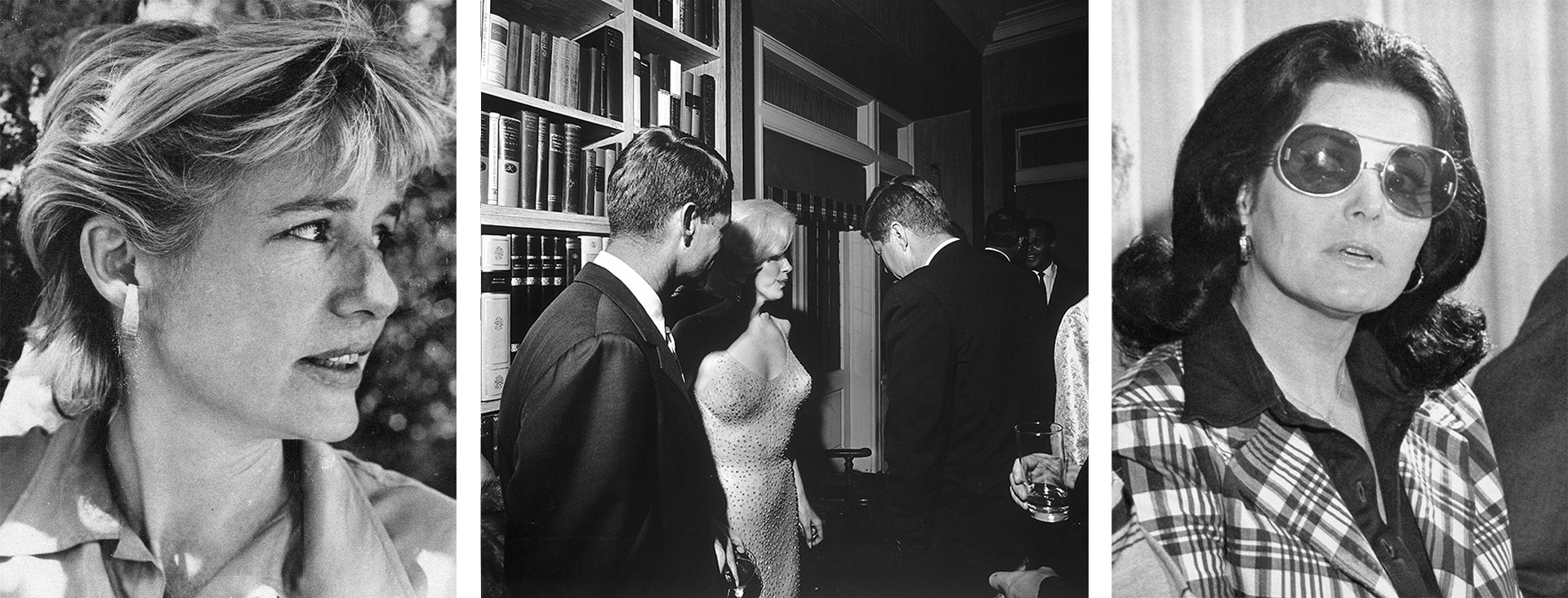 (L-R) Mary Pinchot Meyer, Robert and John F. Kennedy seen with Marilyn Monroe after she famously sang 'Happy Birthday' to JFK, and Judith Campbell Exner. (Credit: AP Photo & Cecil Stoughton/The LIFE Images Collection/Getty Images & Bettmann Archives/Getty Images)