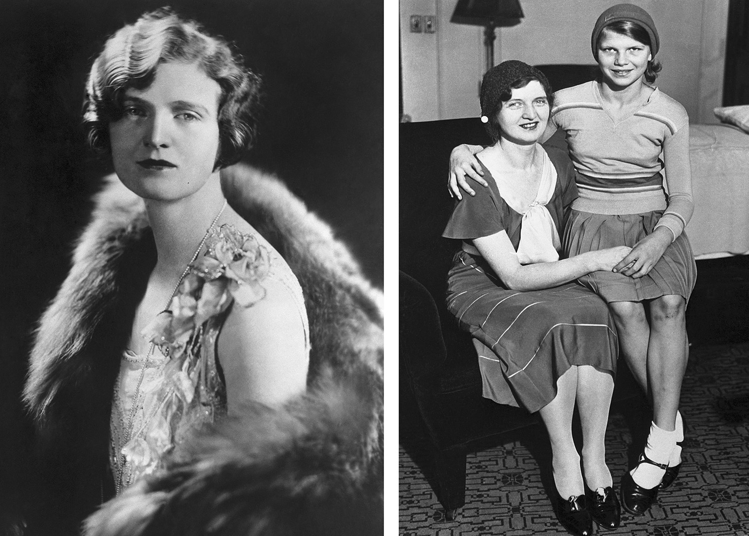 "Nan Britton, the woman who had an affair with President Warren G. Harding and publisher of the book ""The President's Daughter,"" shown with her daughter on the right. (Credit: Bettmann Archive/Getty Images)"