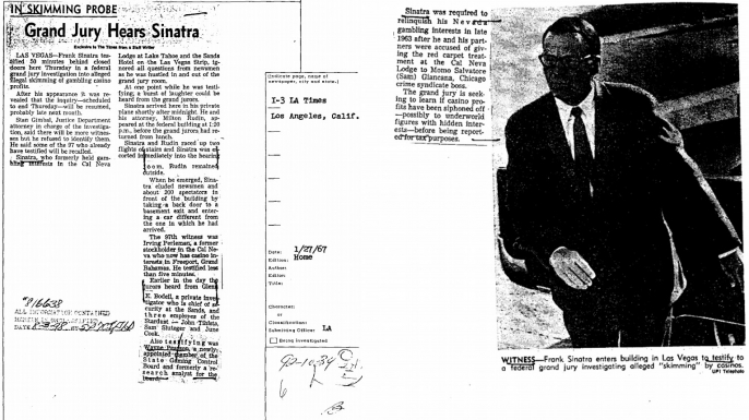 An article about Frank Sinatra's speculated mob ties with Sam Giancana, scanned in his FBI file. (Credit: The Federal Bureau of Investigation)